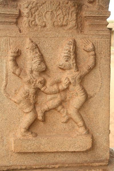 sculpture on walls of Ram temple Hampi